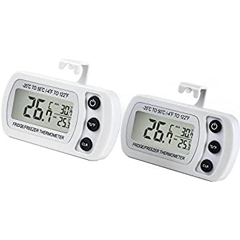 Refrigerator Fridge Thermometer Digital Freezer Room Thermometer Waterproof, Max/Min Record Function with Large LCD Display