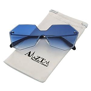 AMZTM Trend Fashion Street Style Shades Retro Eyewear Frames Irregular Rimless Gradient Ocean Lenses Driving Glasses Womens Oversized Sunglasses (Gradient Blue, 60)