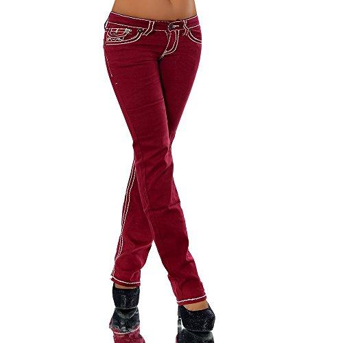 Femme Uni Diva Jeans Bootcut Rouge Bordeaux Jeans 0qn81UnI