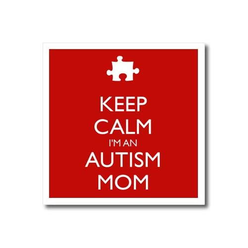"""3dRose ht_163772_1 Keep Calm I'm An Autism Mom, Red & White Iron on Heat Transfer Paper for White Material, 8 by 8"""""""