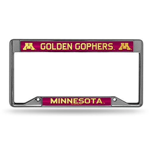 Golden Gophers Bling Chrome License Plate Frame with Glitter Accent (Minnesota License Plate Tag)