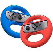 Joy Con Grip,Steering Wheel Controller for Nintendo Switch,2 Pack Wear-resistant Joy-con Handle Grips Accessory Kit Blue+Red EC007L