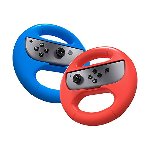 Joy Con Grip,Steering Wheel Controller for Nintendo Switch,2 Pack Wear-resistant Joy-con Handle Grips Accessory Kit Blue+Red EC007L