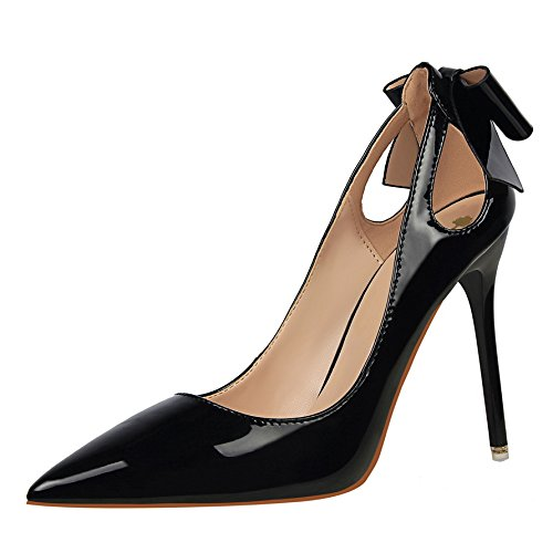 Bow Tip Shallow Shoes Autumn Princess Match A Shoes The Black 10Cm Fine All The Mouth Female Spring Single Season New With Heeled High KPHY And gq1RzUWnw