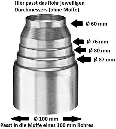 100 auf 80 Fallrohrreduzierung Ablaufreduzierung Steckmuffe 100//80