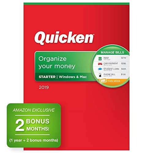 Quicken Starter 2019 Personal Finance Software [PC/Mac Disc] 1-Year Subscription + 2 Bonus Months [Amazon Exclusive] (Mint Software Mac)