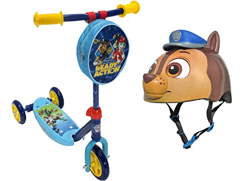 Paw Patrol Kids 3-Wheel Kick Scooter with Bell Sports Paw Patrol Kids/Toddler Helmet