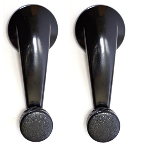 (PT Auto Warehouse GM-1543SA-P - Inside Interior Inner Window Crank Handle, Black - Left/Right Pair)
