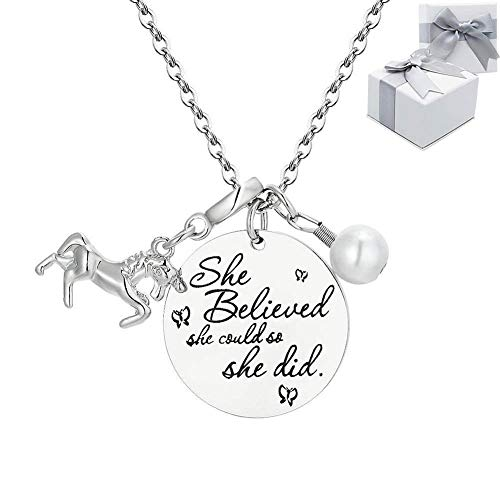 Unicorn Inspirational Necklace Jewelry Gifts, Yolmina Unicorn Pendant Charm Chain for Girls Women Female – She Believed She Could So She Did ()