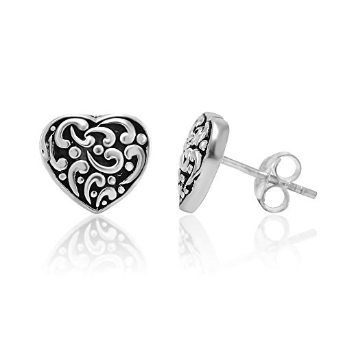 (925 Oxidized Sterling Silver Filigree Heart 10 mm Post Stud Earrings)