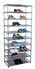 Home Basics Free-Standing Shoe Rack (10-Tier) 24.6