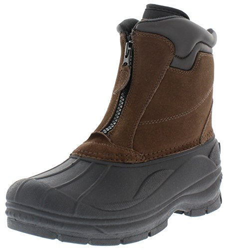 Weatherproof Trek Zip Up Waterproof Snow Boots for Men | Thermolite, Suede Ankle High Winter Boots Size-12 M US Brown