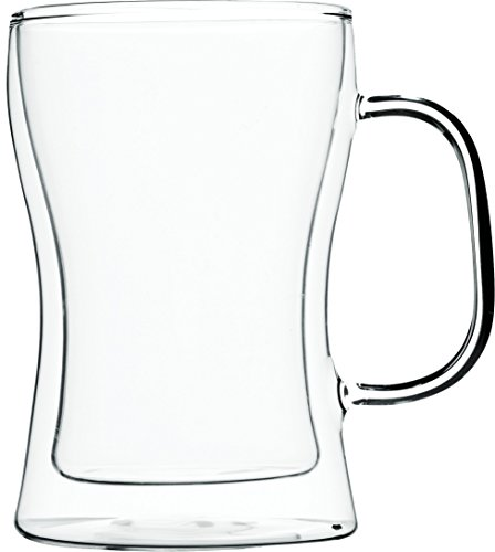 Volere Double Wall Glass Thermo Insulated Handled Beer Mug. Hand Made 17oz Craft Beer (Handled Beer)