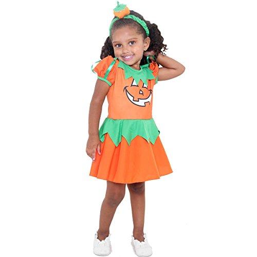 Fantasia Bruxa Abobora Bebe Sulamericana Fantasias Laranja/Verde M 2 Anos