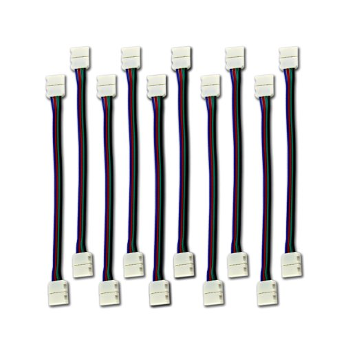 Zitrades 10PCS LED 5050 RGB Strip Light Connector 4 Conductor 10 mm Wide Strip to Strip Jumper