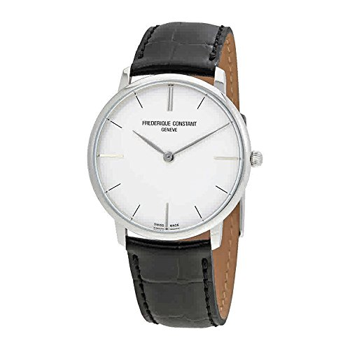 Frederique Constant Men's 'Slim Line' Swiss Quartz Stainless Steel and Leather Dress Watch, Color:Black (Model: FC200S5S36)