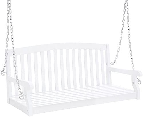 Best Choice Products 48in Wooden Curved Back Hanging Porch Swing Bench w Metal Chains for Patio, Deck, Garden – White
