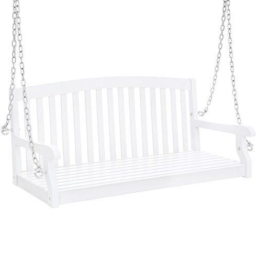 Best Choice Products 48in 3-Seater Wooden Curved Back Hanging Porch Swing Bench Conversation Furniture w/Metal Chains for Backyard, Front Yard, Patio, Deck, Garden - White