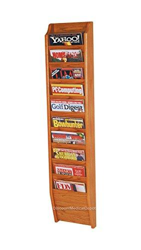 DMD Wall Mount Magazine Rack, 10 Pocket Display, Medium Oak Wood Finish