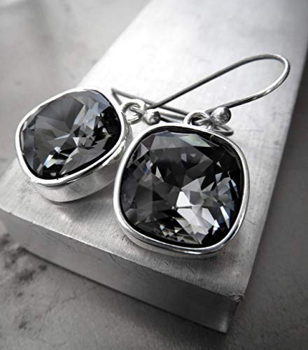 - Black Night Crystal Earrings with Swarovski Crystal - Cushion Cut Black Diamond Crystal