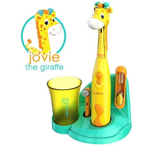 Brusheez Children's Electronic Toothbrush Set - Includes Battery-Powered Toothbrush, 2 Brush Heads, Cute Animal Head Cover, 2-Minute Sand Timer, Rinse Cup, and Storage Base - Jovie the Giraffe