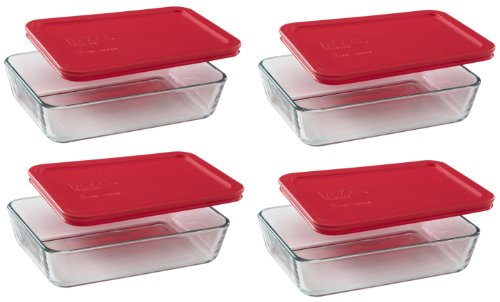 Pyrex 3-Cup Rectangle Food Storage (Pack of 4 Containers) (Rectangle Glass Lid compare prices)