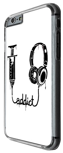 972 - Cool Fun Addict To Music Headphone Design For iphone 5 5S Fashion Trend CASE Back COVER Plastic&Thin Metal -Clear