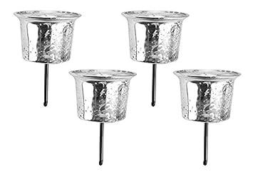 Amazon.de: Teelichthalter Stecker 4er-SET Metall silber für Adventskranz
