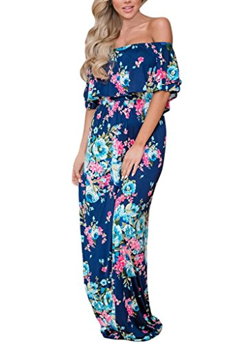 MIDOSOO Womens Off Shoulder Floral Print Strapless Ruffle Long Maxi Dresses with Pocket Blue (Long Strapless Print Dress)