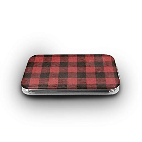 Cookfun Red Buffalo Plaid Warm Wishes Christmas Envelope Makeup Mirror Mini Pocket Mirror (Rectangle)
