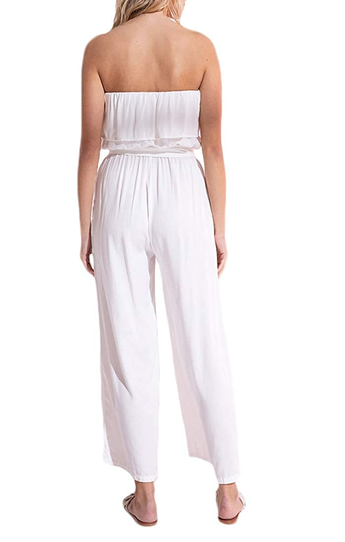 Black Swan BP192784 Carolina Ruffle Cropped Jumpsuit in Bright White