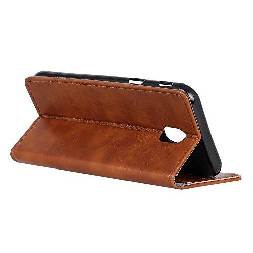 Samsung Galaxy J5 (2017) J530 (European Version) Funda, CaseFirst Flip Billetera Estuche Cover Carcasa Ranura de Tarjeta Carcasas Flip Función de Soporte Wallet Cover Case (Dorado) Marrón