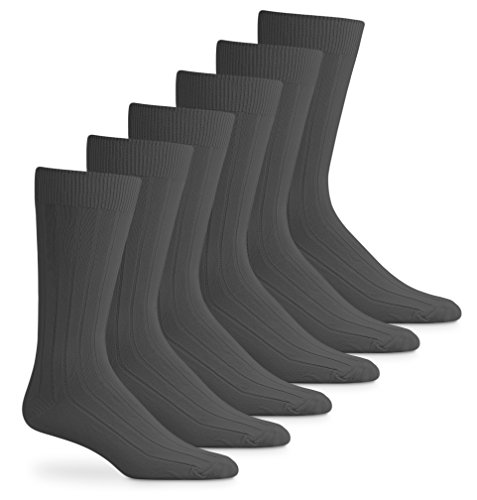 Acrylic Rib Socks (Top Flite Mens Acrylic Rib Crew Dress Socks 6 Pair Pack (Sock Size 10-13 - Shoe Size 6-12.5, Oxford Grey))