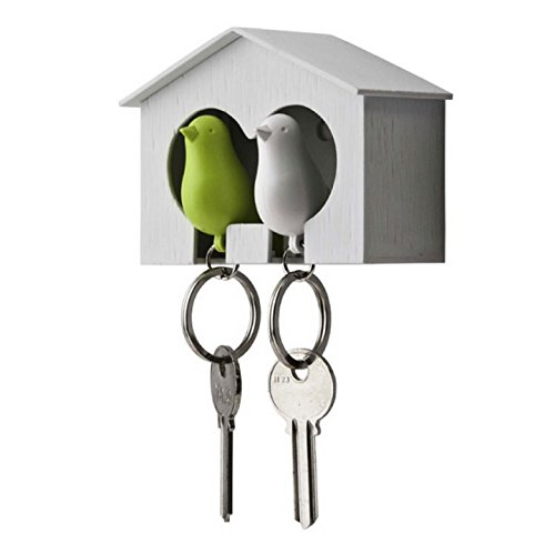 Duo Sparrow Key Holder by Qualy Design. Wall Mounted Bird House and Two Bird Key Fobs. Great Key Hook for Couple. Cool Gift for Her and Him. White Birdhouse. White and Green Keyring Birds. (Halloween Duos For Couples)
