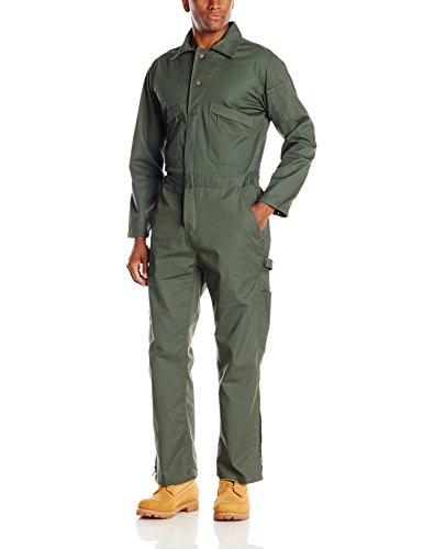 Key Apparel Men's Long Sleeve Loden Green Unlined Coverall, Loden Green, Large/Short (Firefly Kaylee Patches)