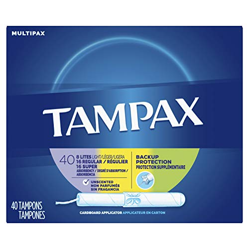 - Tampax Cardboard Applicator Tampons, Light/Regular/Super Absorbency Multipack, Unscented, 40 Count- Pack of 6 (240 Count Total)