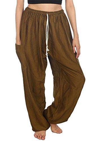 Lofbaz Women's Drawstring Harem Solid Bohemian Hippie Rayon Pants Dark Green M - Solid Baggy Pant