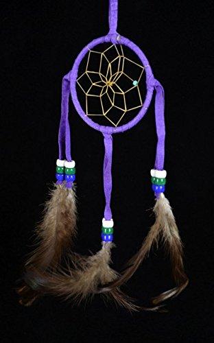 Authentic 3 Inch Navajo Made Dream Catcher -(Purple)