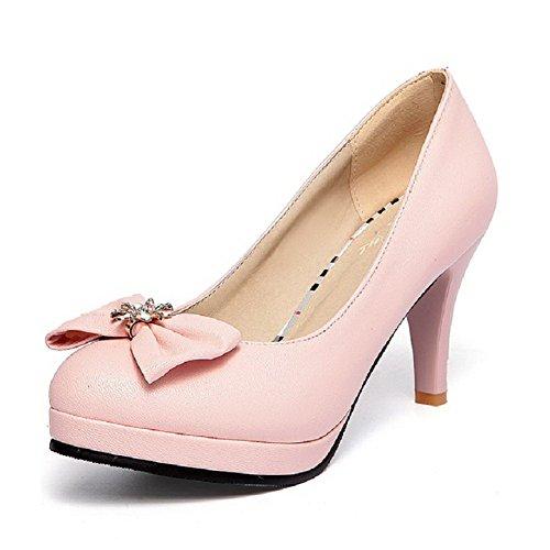 Pu Punta Su Rotonda Donne Allhqfashion Tacchi scarpe Solidi Rosa Tirare Pompe Chiusa 4xwqOgff7