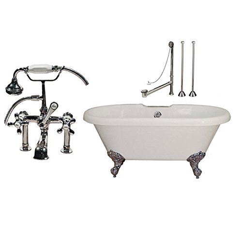 Randolph Morris 66 In Acrylic Double Ended Clawfoot Tub Set - Complete Package