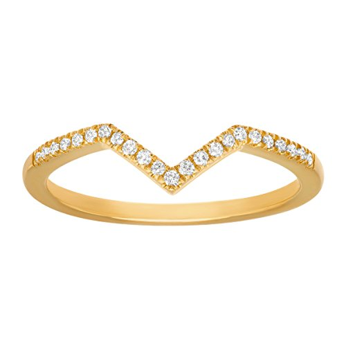 1/10 ct Diamond Chevron Ring in 10K Yellow Gold Size 7 by Finecraft