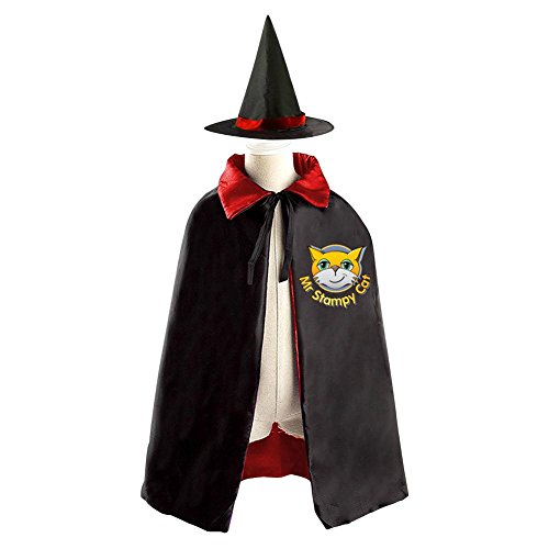 DBT Stampy Cat Logo Childrens' Halloween Costume Wizard Witch Cloak Cape Robe and (Stampy Cat Costume For Halloween)