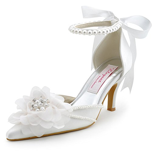 Elegantpark EP11052 Women's Pointed Toe Pearls Strap Flower Stiletto Heel Satin Pumps Wedding Bridal Shoes White US 8