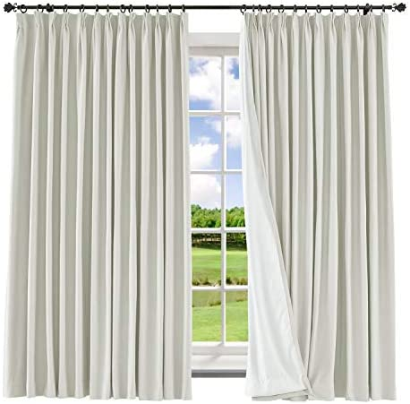 Macochico Extra Long and Wide Curtains 150″ W x 102″ L Pinch Pleated Polyester Cotton Drape