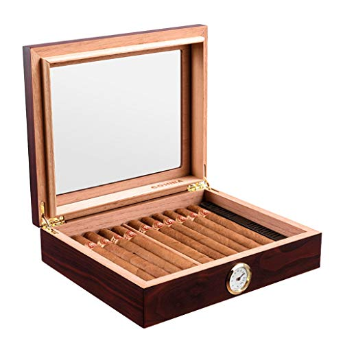 $172.17 cuban crafters humidor Humidors Cigar 35 Cigar Boxes Portable Cigar Cuban Cigars Cedarwood Humidifier High Skylight Equipped with Humidifier and Hygrometer (Color : Red 2, Size : 22266.8cm) 2019