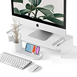 Monitor Riser | with Pen & Phone Organizer | Zero Assembly | Modern Desk Organizer | Monitor Stand Riser for iMac…