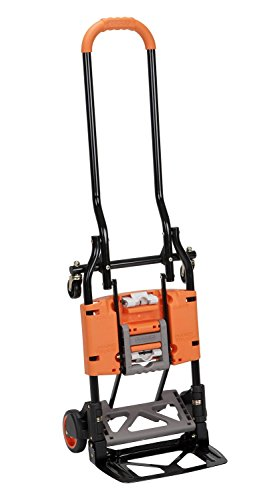 2in 1 Hand Truck - Cosco Shifter 300-Pound Capacity Multi-Position Folding Hand Truck and Cart, Orange