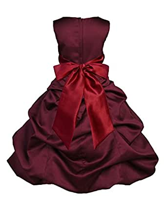 Amazon.com: Wedding Pageant Burgundy Pick-up Flower Girl ...