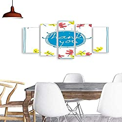 UHOO 5 Piece Wall Art Painting PrintThank You Card Design Template Simple Greeting Card Elegant Note Label Thanksgiving Symbol sign2. odern Decoration Living Room