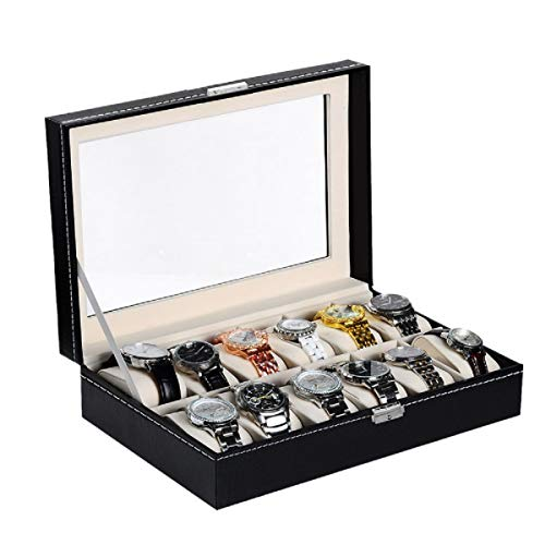 VALYRIA Watch Box Large 12 Mens Black Leather Display Glass Top Jewelry Case Organizer